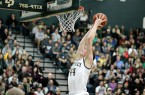 Cal Poly freshman Zach Gordon goes up for a dunk during Cal Poly's win on Saturday night. By Owen Main