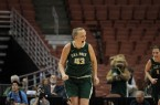Molly Schelemer lets out a Shaq-like scream of joy after a basket late in the BIg West Championship game. Schlemer averaged 16.5 points and 12.5 rebounds per game in the tournament.