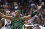 Paul Pierce (seen here without his trademark wheelchair), may be getting old, but he still made L-Man's top-10 active players. By Keith Allison, via Wikimedia Commons
