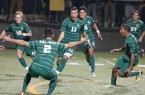 Cal Poly freshman Justin Dhillon (11) celebrates after his first-half goal on Friday night. By Owen Main