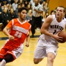 Mission Prep junior Quinton Adlesh takes the ball to the basket against Atascadero on Friday night. By Owen Main
