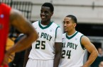 Joel Awich and Jamal Johnson enjoy the final minutes of Cal Poly's victory on Thursday night.