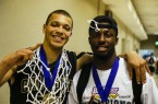 Chris Eversley and David Nwaba celebrate the Big West Conference Tournament championship. By Owen Main