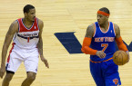 Trevor Ariza (left) is another player who could make more of an impact during a championship run than Carmelo Anthony. By Keith Allison, via Wikimedia Commons
