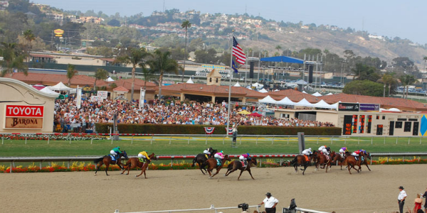 Horse racing is just part of the fun at Del Mar, via Wikimedia Commons.