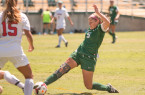 Junior Sara Epps and a group of Cal Poly attackers out-shot Lamar 12-2 in the second half. By Owen Main