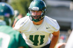 Linebacker Nick Dzubnar will lead Cal Poly's defense on Thursday night. By Owen Main