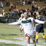 Mustang captain, Matt LaGrassa's headed goal and subsequent celebration drove the crowd of nearly 7,000 fans at Alex G. Spanos Stadium into a frenzy. By Owen Main