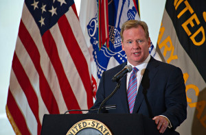 Roger Goodell is on the hot seat. By SSG Teddy Wade [Public domain], via Wikimedia Commons