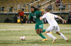 Cal Poly's Kaba Alkebulan was a physical offensive target for much of Thursday's match. By Owen Main