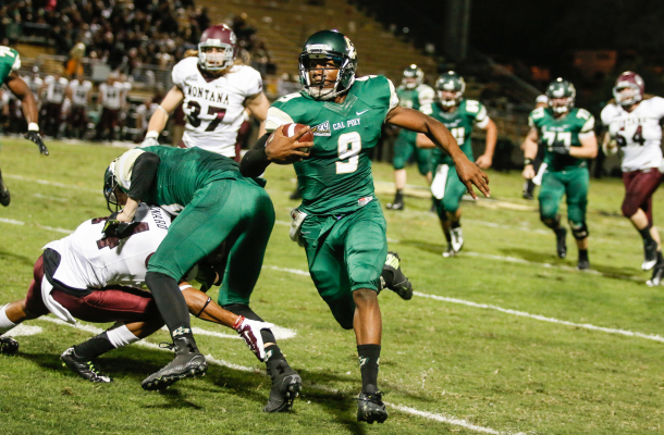 Chris Brown set a quarterback single-game record for Cal Poly with 226 yards on 21 carries Saturday night. By Owen Main