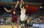 Reese Morgan led Cal Poly with 13 points in their opener. By Owen Main