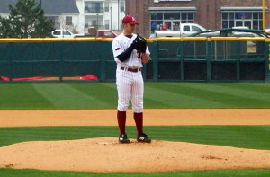 Mike Bolsinger (pictured here during his collegiate days at Arkansas) might not get a ton of starts for the Dodgers, but I'd bet on him getting some. By Brandonrush (Own work), via Wikimedia Commons