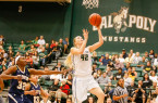 Morro Bay High School product Hannah Gilbert scored 14 points and pulled down eight rebounds in Cal Poly's Saturday win. By Owen Main