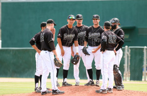 Things looked a little different in Taylor Chris' final visit to the Baggett Stadium mound of 2015. By Owen Main