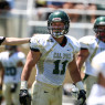 Burton De Koning figures to be a starter at linebacker for the Cal Poly football team, but he wants to try to make the baseball team as well. By Owen Main