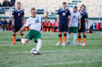 Chase Minter drilled home a penalty kick for the first goal on Saturday night. By Owen Main