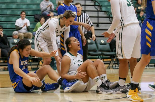 Dynn Leaupepe shows some emotion after an and-one bucket on Thursday night. By Owen Main
